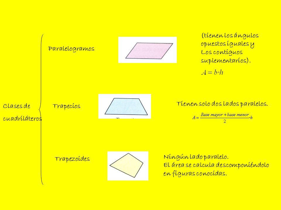 (tienen los ángulos opuestos iguales y. Los contiguos. suplementarios). Paralelogramos. Tienen solo dos lados paralelos.