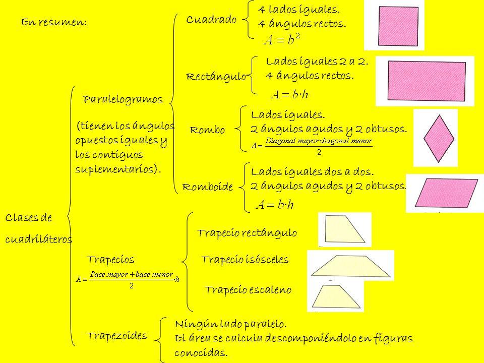 4 lados iguales. 4 ángulos rectos. En resumen: Cuadrado. Lados iguales 2 a 2. 4 ángulos rectos.