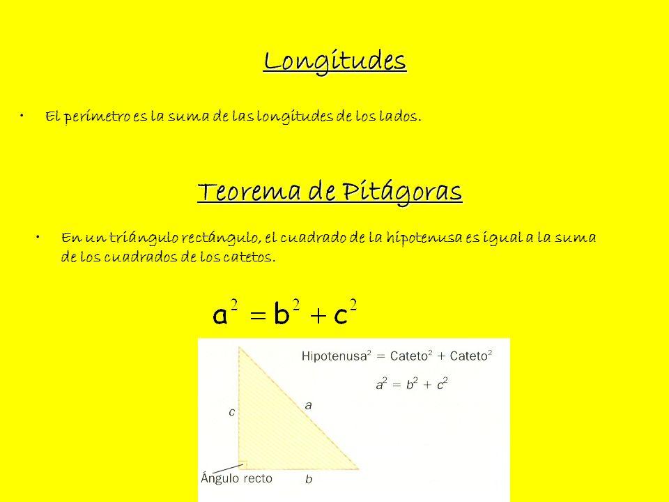 Longitudes Teorema de Pitágoras