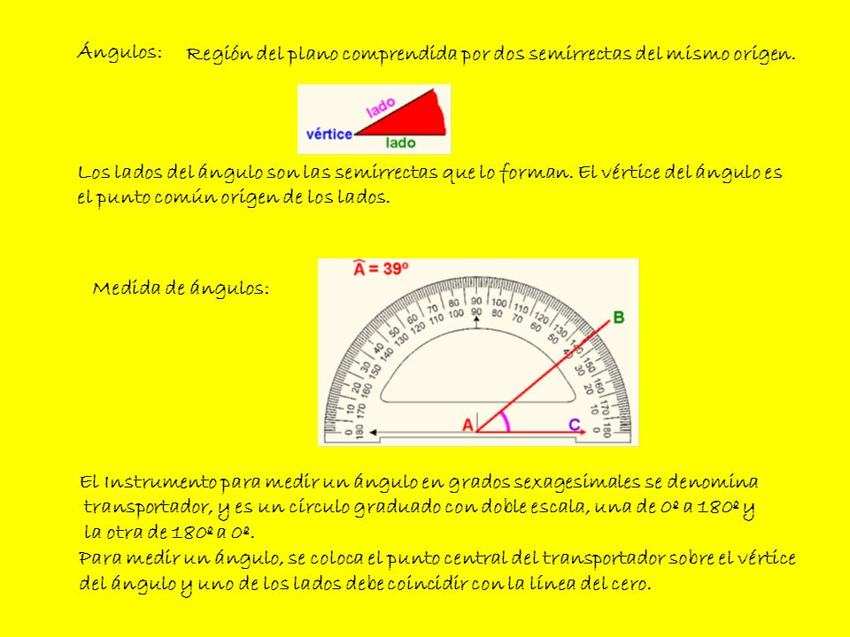 Ángulos: Región del plano comprendida por dos semirrectas del mismo origen.