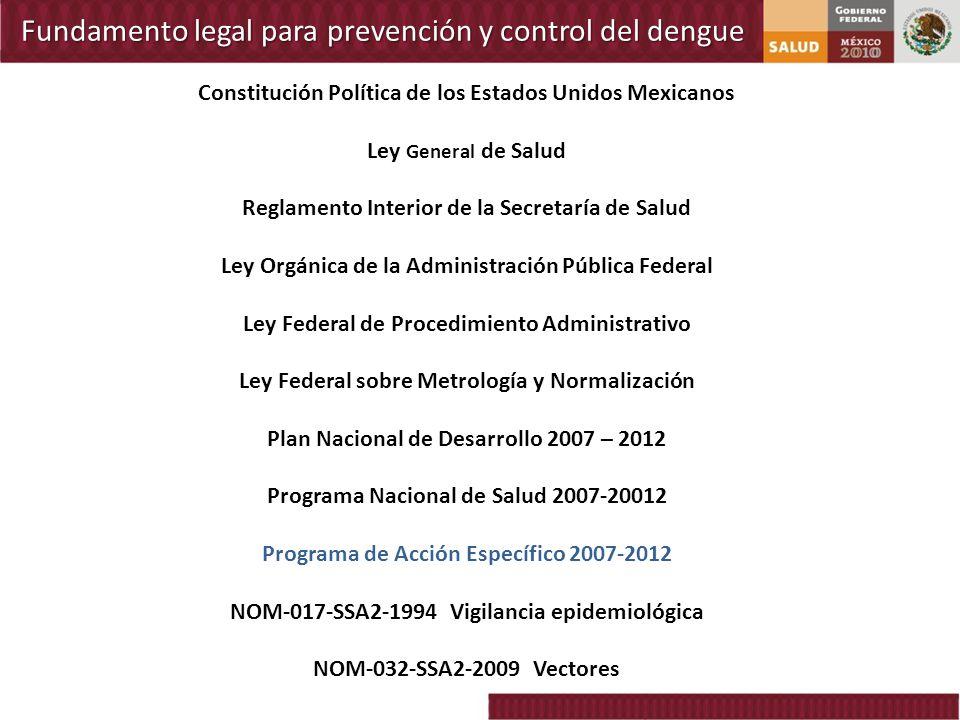 Fundamento legal para prevención y control del dengue