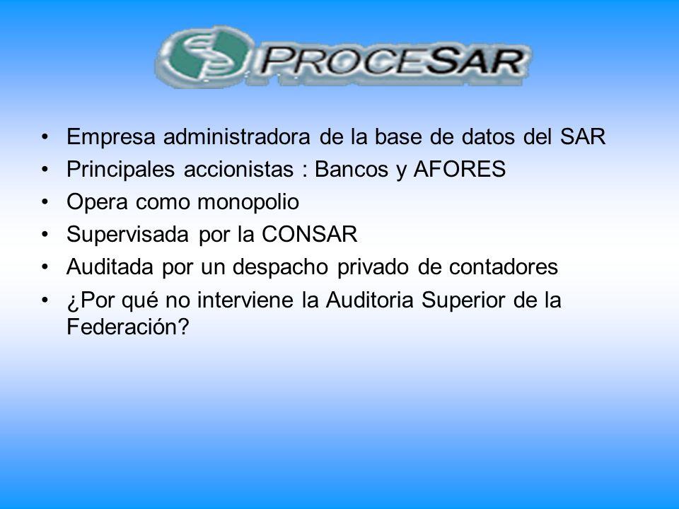 Empresa administradora de la base de datos del SAR