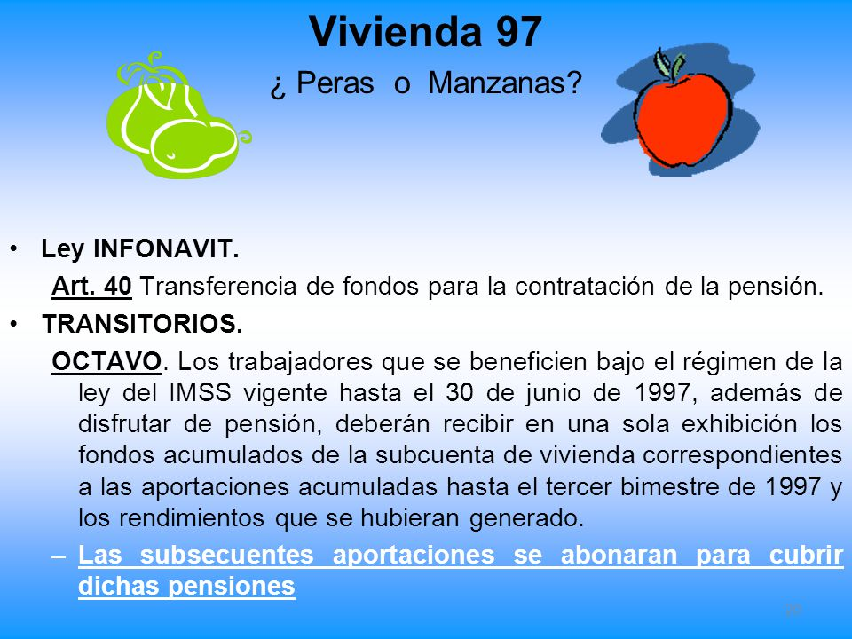 Vivienda 97 ¿ Peras o Manzanas Ley INFONAVIT.