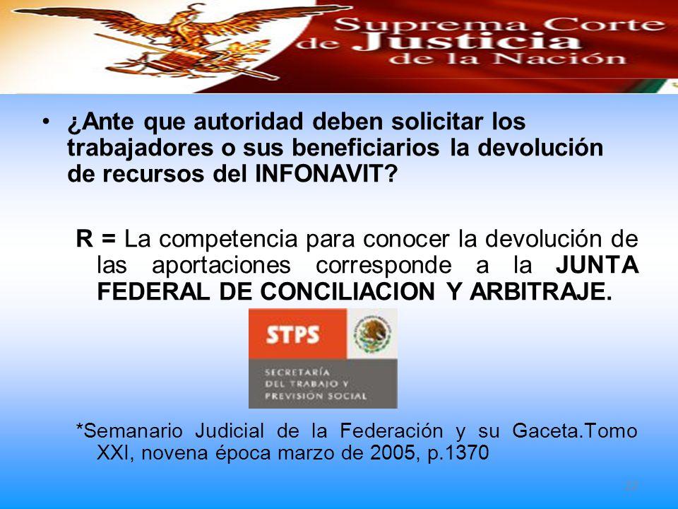 ¿Ante que autoridad deben solicitar los trabajadores o sus beneficiarios la devolución de recursos del INFONAVIT