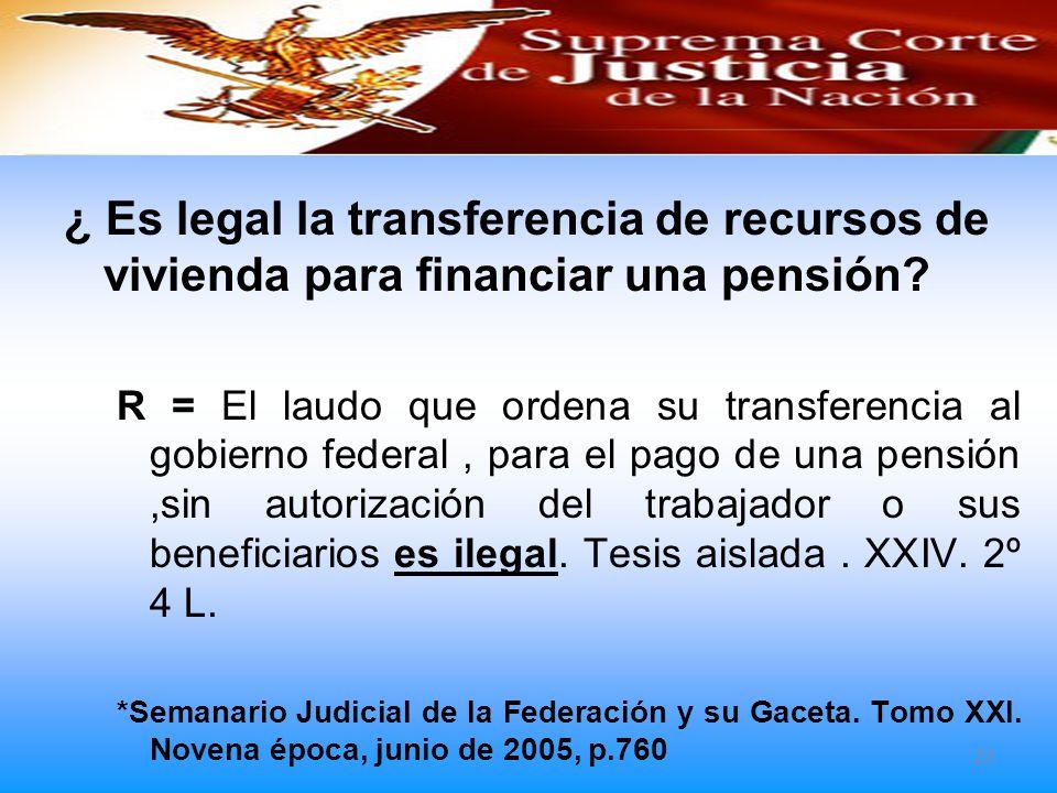¿ Es legal la transferencia de recursos de vivienda para financiar una pensión
