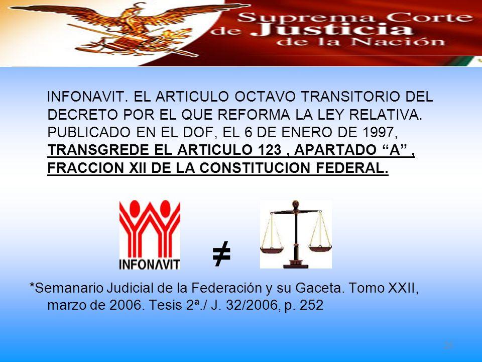 INFONAVIT. EL ARTICULO OCTAVO TRANSITORIO DEL DECRETO POR EL QUE REFORMA LA LEY RELATIVA. PUBLICADO EN EL DOF, EL 6 DE ENERO DE 1997, TRANSGREDE EL ARTICULO 123 , APARTADO A , FRACCION XII DE LA CONSTITUCION FEDERAL.