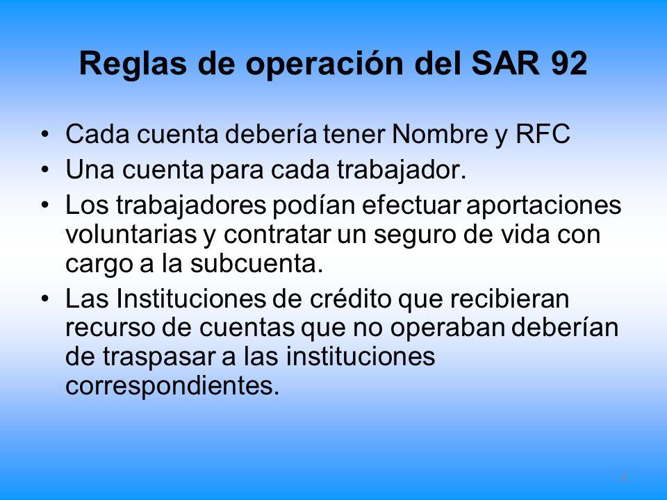 Reglas de operación del SAR 92