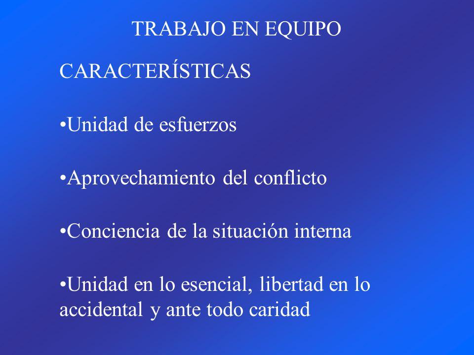 TRABAJO EN EQUIPO CARACTERÍSTICAS. Unidad de esfuerzos. Aprovechamiento del conflicto. Conciencia de la situación interna.