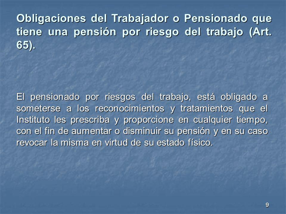 Obligaciones del Trabajador o Pensionado que tiene una pensión por riesgo del trabajo (Art. 65).