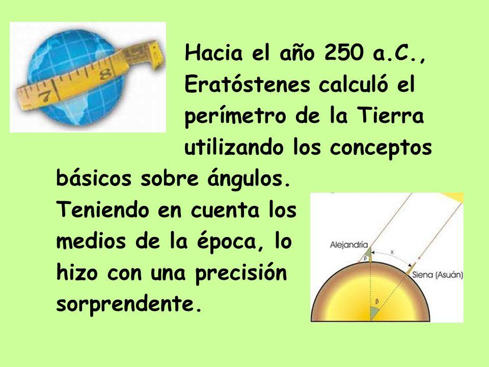 Hacia el año 250 a.C.,Eratóstenes calculó el. perímetro de la Tierra. utilizando los conceptos. básicos sobre ángulos.
