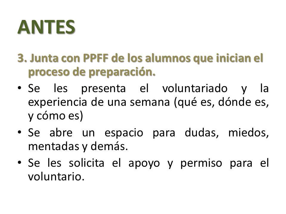 ANTES 3. Junta con PPFF de los alumnos que inician el proceso de preparación.