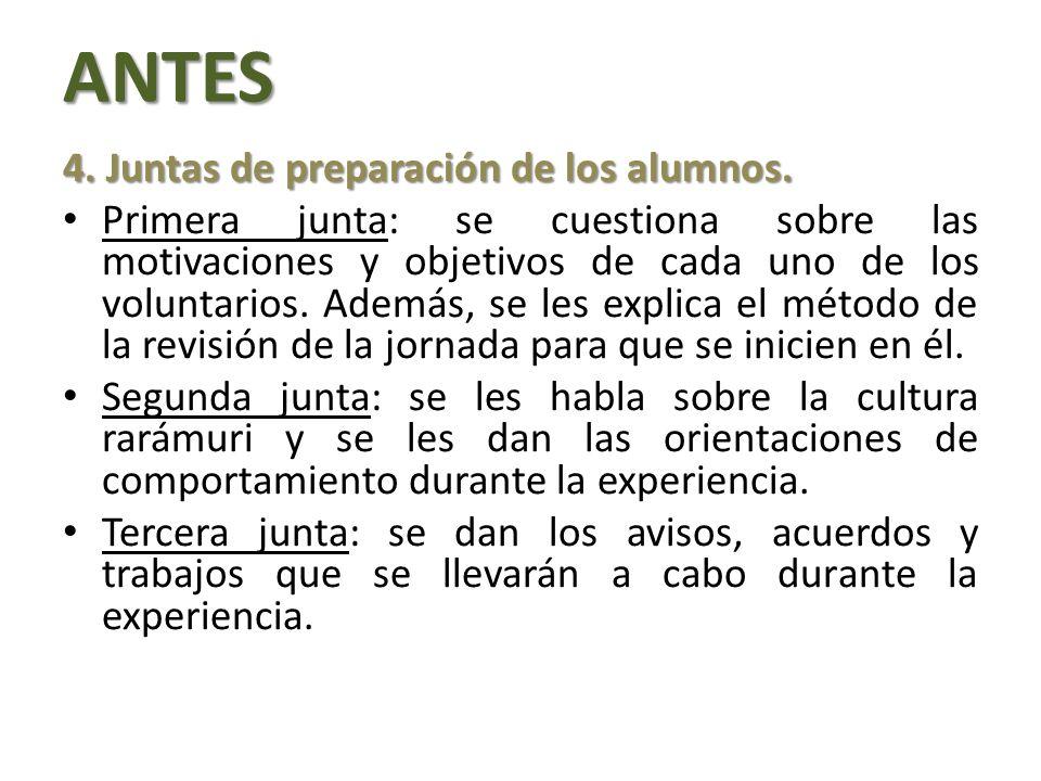 ANTES 4. Juntas de preparación de los alumnos.