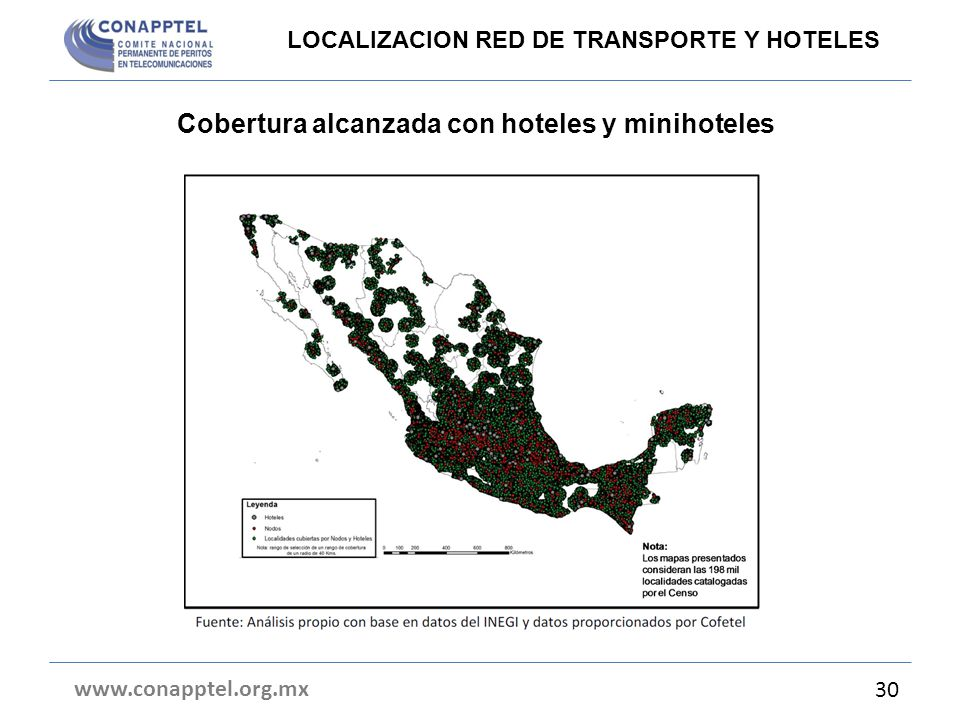 Cobertura alcanzada con hoteles y minihoteles