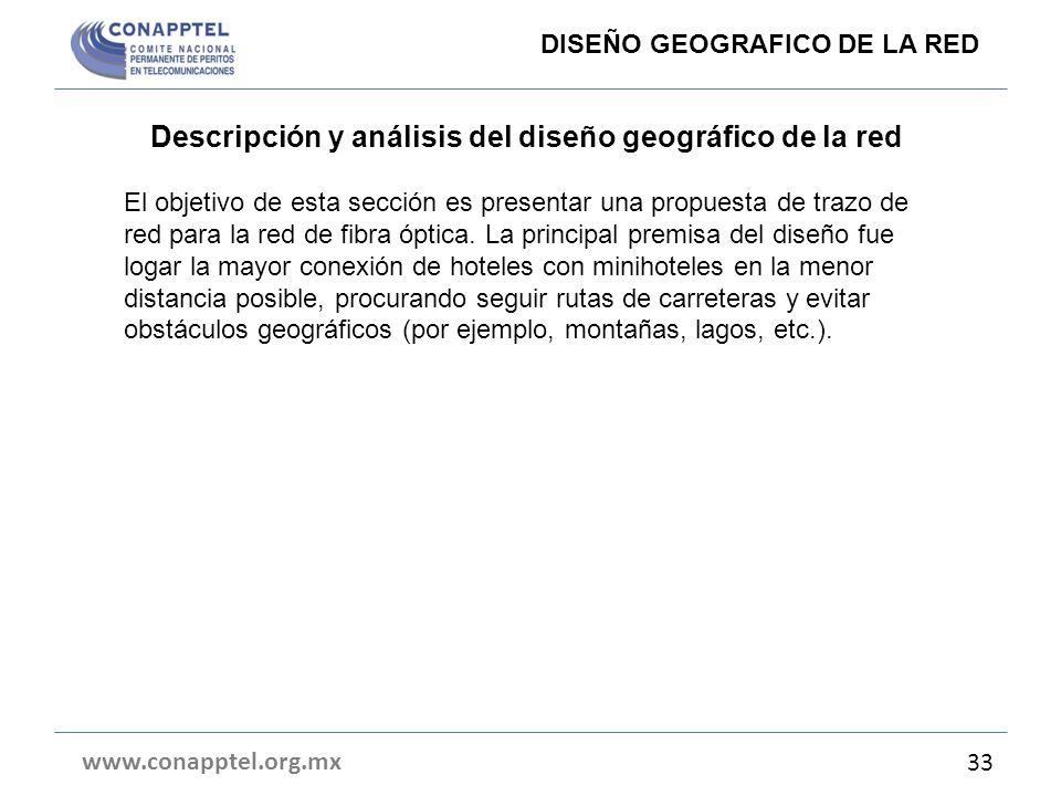 Descripción y análisis del diseño geográfico de la red
