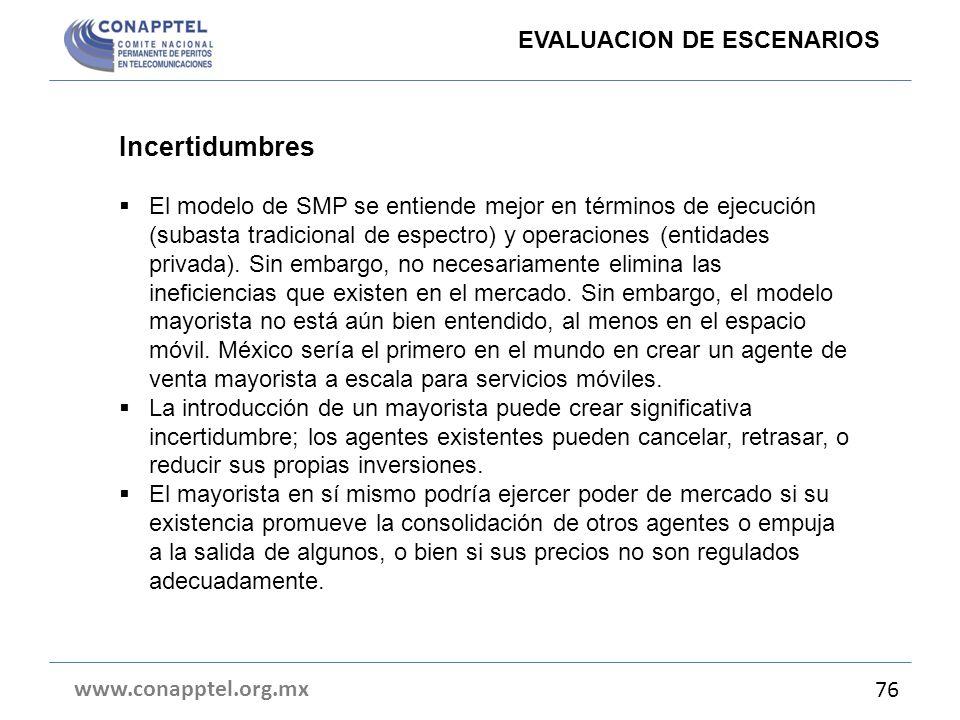 Incertidumbres EVALUACION DE ESCENARIOS