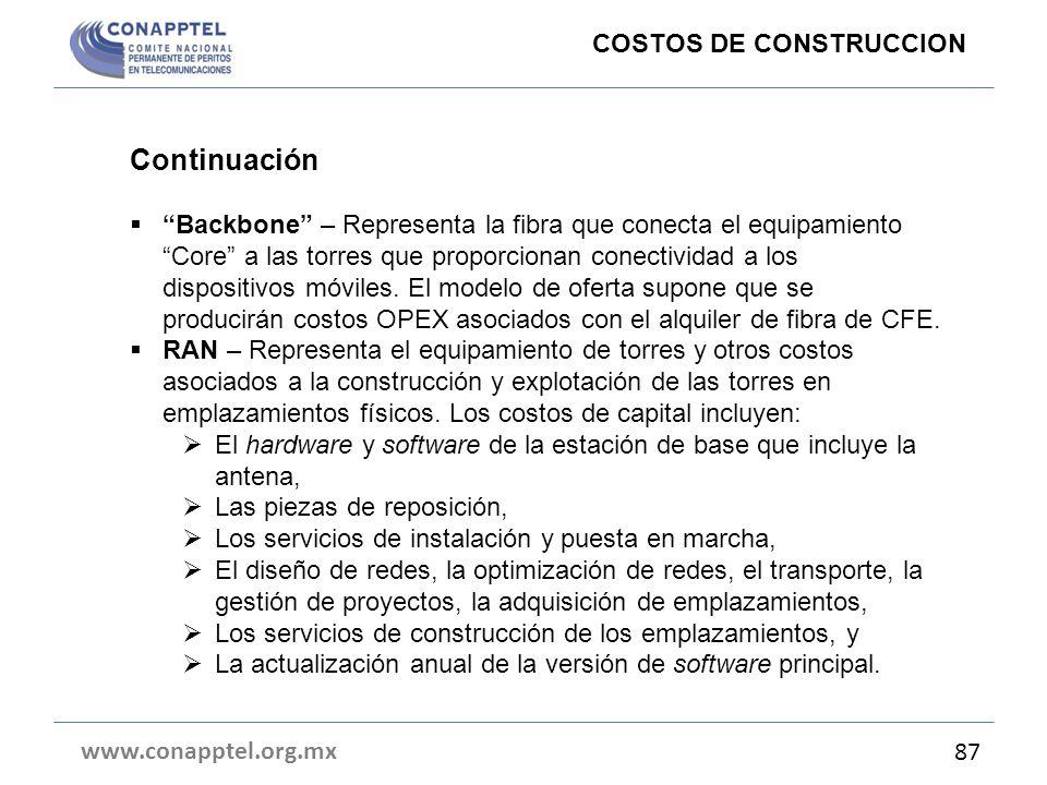 Continuación COSTOS DE CONSTRUCCION