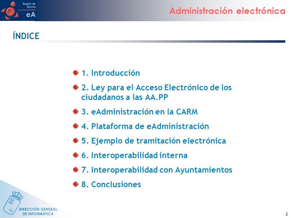 ÍNDICE 1. Introducción. 2. Ley para el Acceso Electrónico de los ciudadanos a las AA.PP. 3. eAdministración en la CARM.