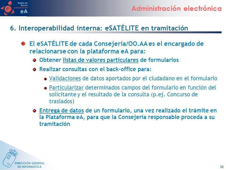 6. Interoperabilidad interna: eSATÉLITE en tramitación