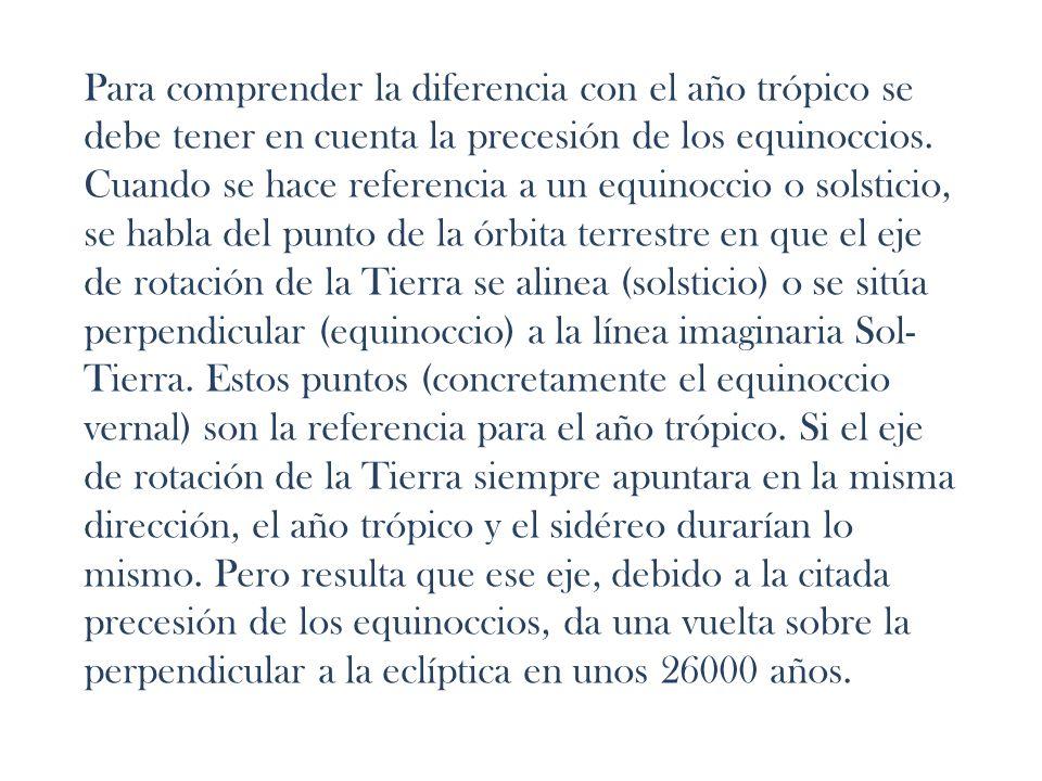 Para comprender la diferencia con el año trópico se debe tener en cuenta la precesión de los equinoccios.