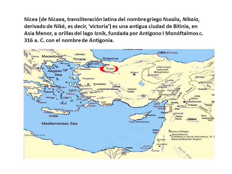 Nicea (de Nicaea, transliteración latina del nombre griego Νικαïα, Nikaia, derivado de Niké, es decir, 'victoria') es una antigua ciudad de Bitinia, en Asia Menor, a orillas del lago Iznik, fundada por Antígono I Monóftalmos c.