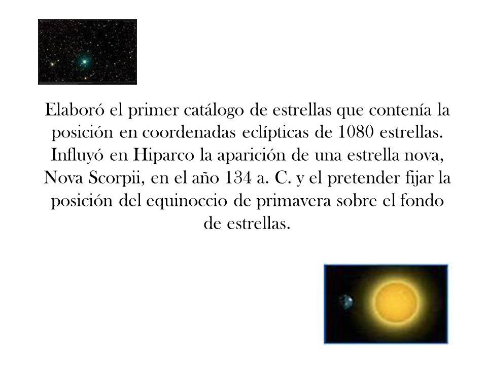 Elaboró el primer catálogo de estrellas que contenía la posición en coordenadas eclípticas de 1080 estrellas.