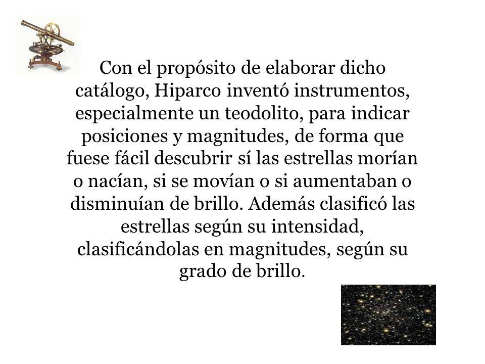 Con el propósito de elaborar dicho catálogo, Hiparco inventó instrumentos, especialmente un teodolito, para indicar posiciones y magnitudes, de forma que fuese fácil descubrir sí las estrellas morían o nacían, si se movían o si aumentaban o disminuían de brillo.