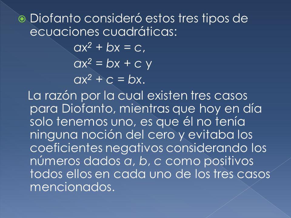 Diofanto consideró estos tres tipos de ecuaciones cuadráticas: