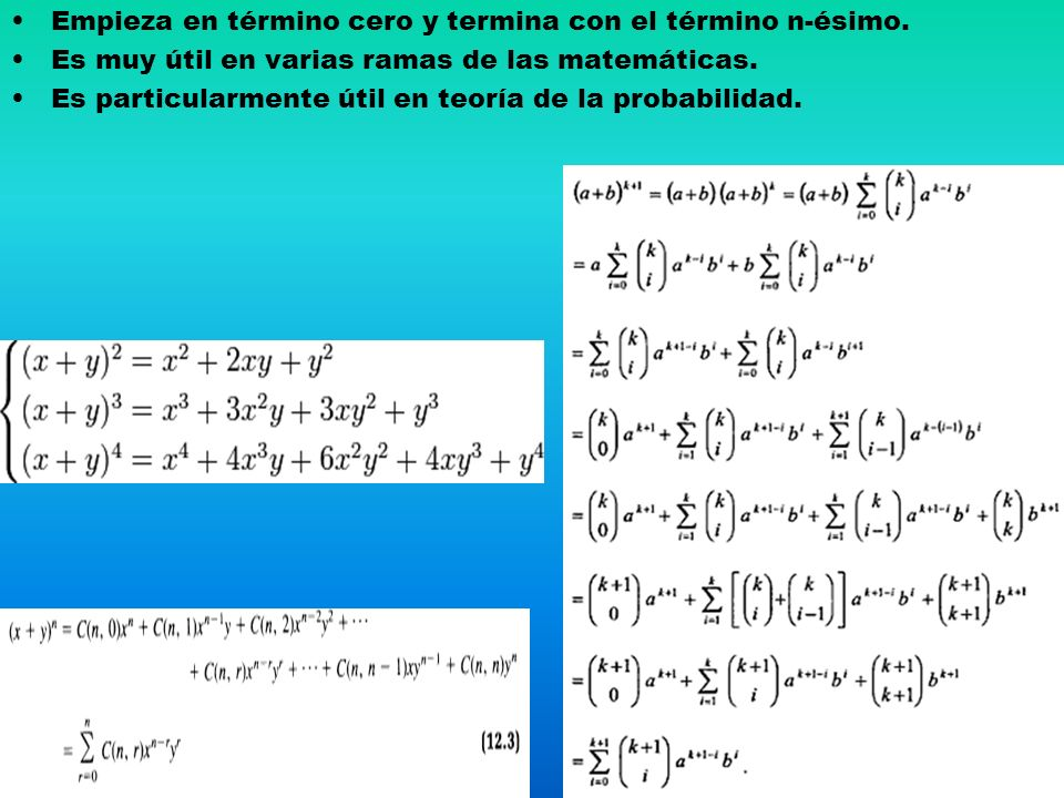 Empieza en término cero y termina con el término n-ésimo.