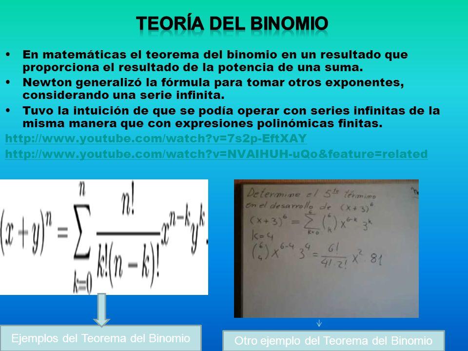 En matemáticas el teorema del binomio en un resultado que proporciona el resultado de la potencia de una suma.