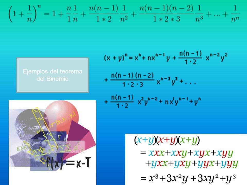 Ejemplos del teorema del Binomio