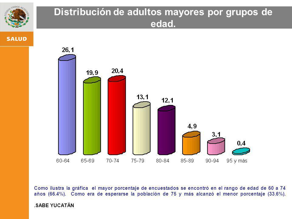 Distribución de adultos mayores por grupos de edad.