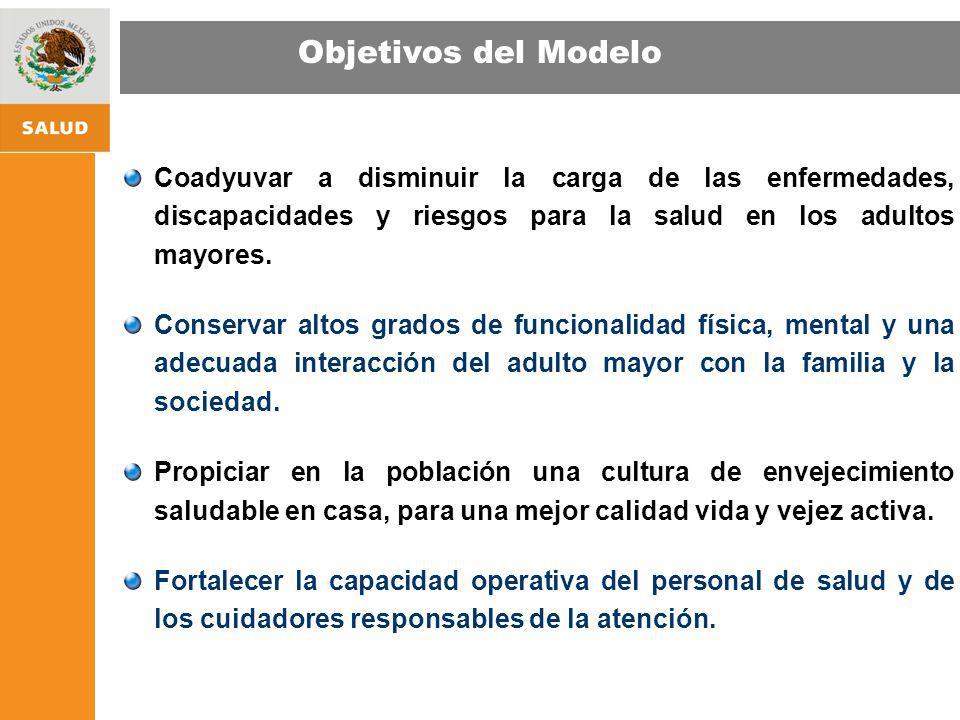 Objetivos del Modelo Coadyuvar a disminuir la carga de las enfermedades, discapacidades y riesgos para la salud en los adultos mayores.