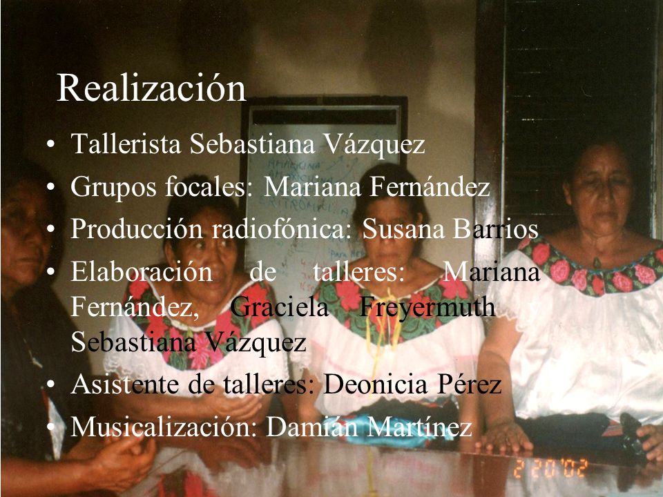 Realización Tallerista Sebastiana Vázquez
