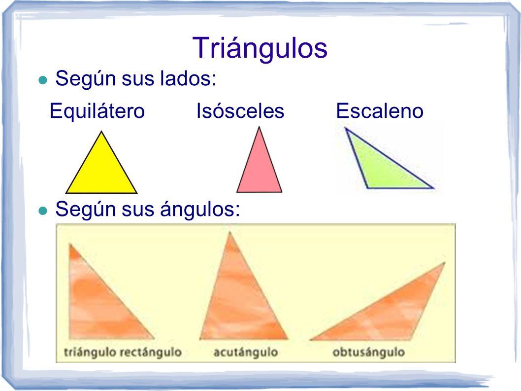 Triángulos Según sus lados: Equilátero Isósceles Escaleno