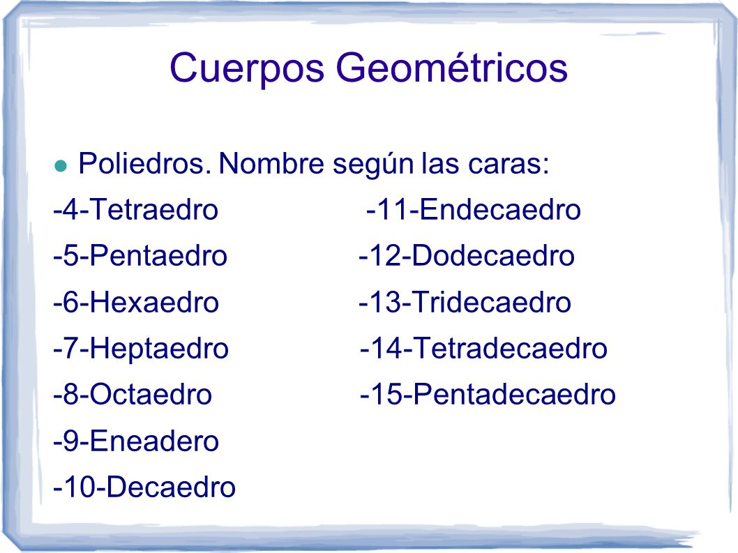 Cuerpos Geométricos Poliedros. Nombre según las caras: