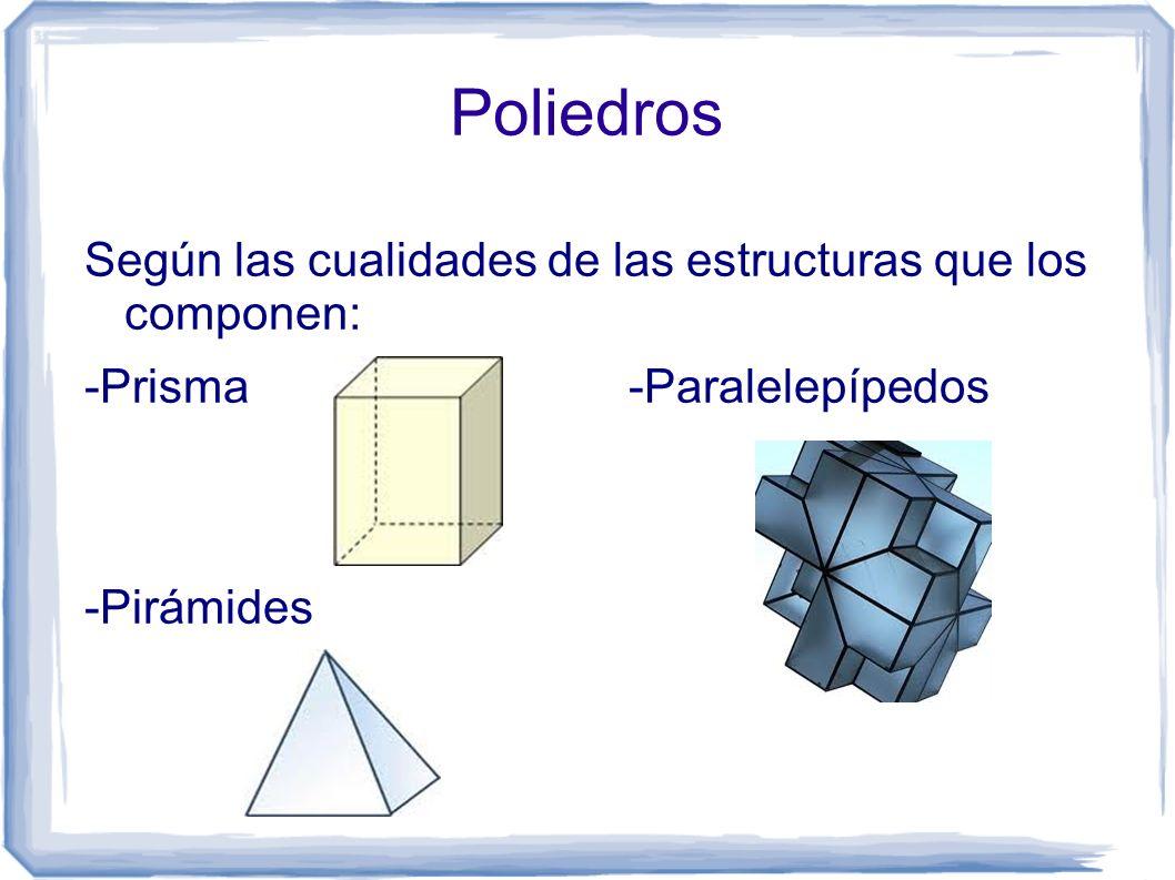 Poliedros Según las cualidades de las estructuras que los componen:
