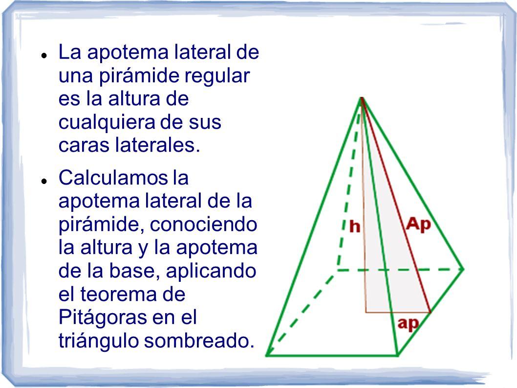 La apotema lateral de una pirámide regular es la altura de cualquiera de sus caras laterales.