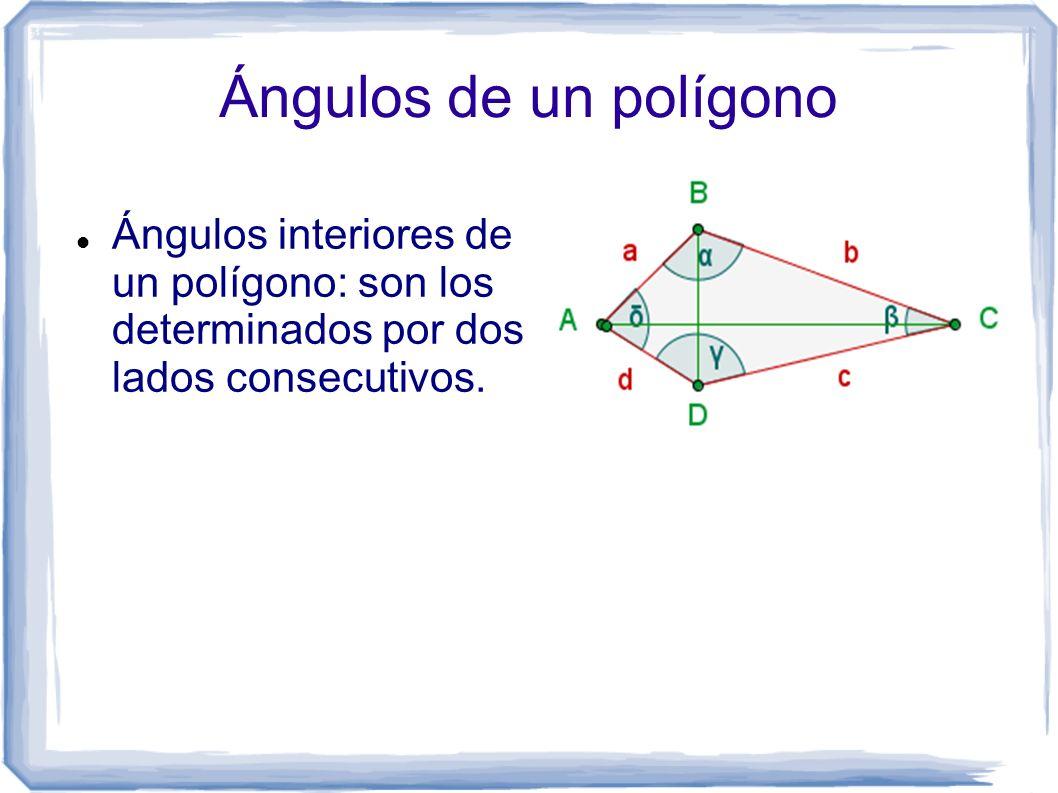 Ángulos de un polígono Ángulos interiores de un polígono: son los determinados por dos lados consecutivos.