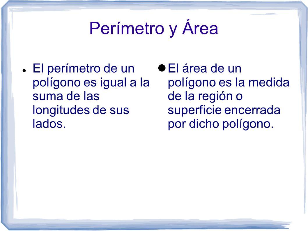Perímetro y Área El perímetro de un polígono es igual a la suma de las longitudes de sus lados.