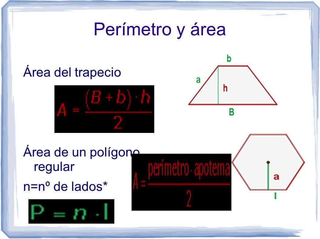 Perímetro y área Área del trapecio Área de un polígono regular