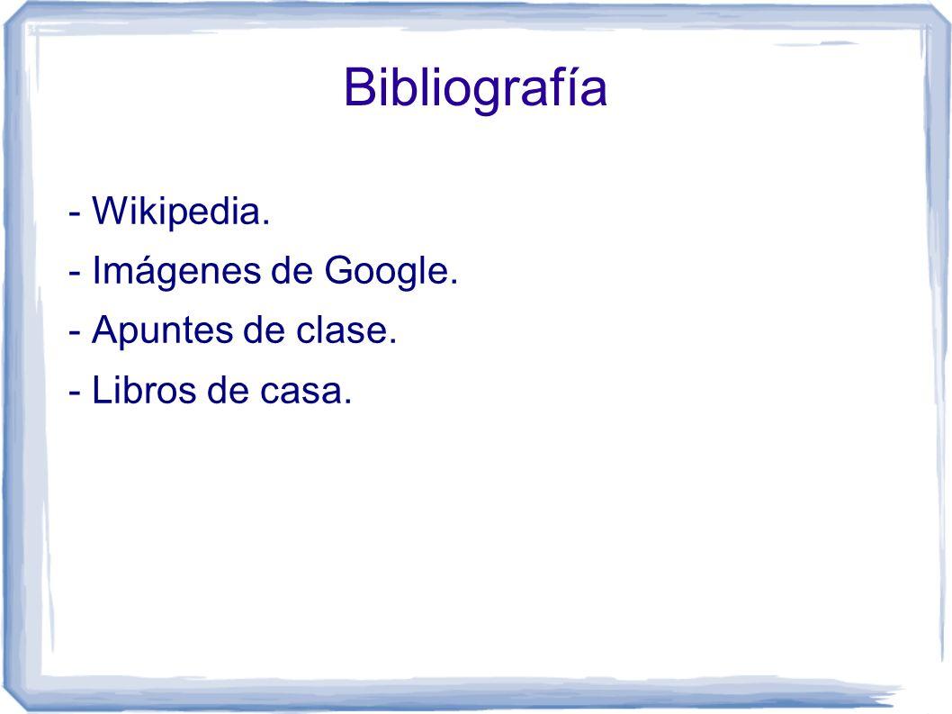 Bibliografía - Wikipedia. - Imágenes de Google. - Apuntes de clase.
