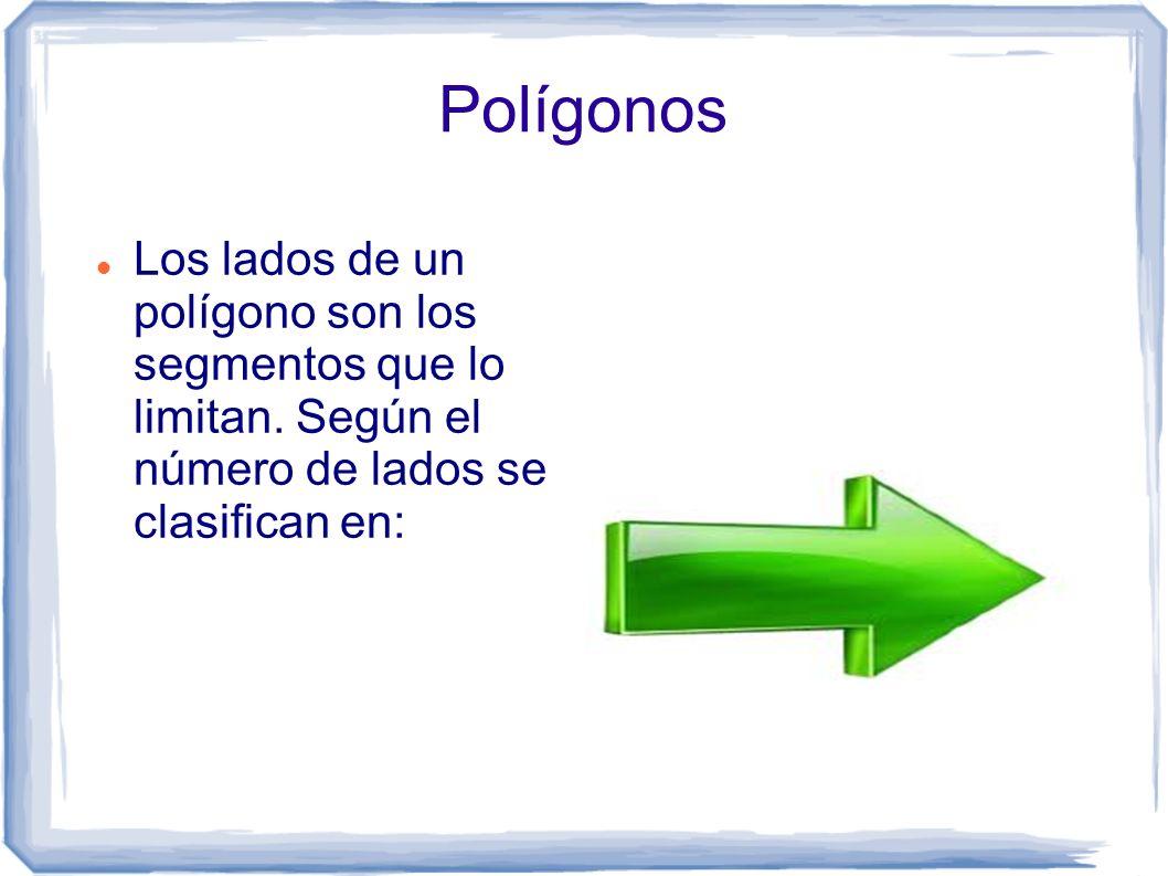 Polígonos Los lados de un polígono son los segmentos que lo limitan.