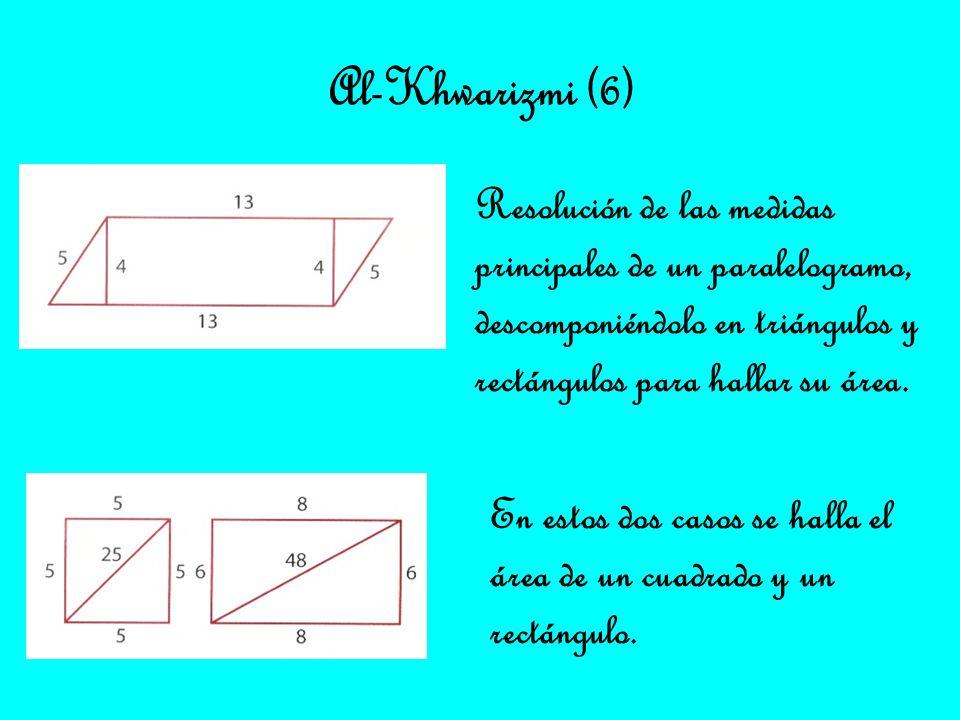 Al-Khwarizmi (6) Resolución de las medidas principales de un paralelogramo, descomponiéndolo en triángulos y rectángulos para hallar su área.