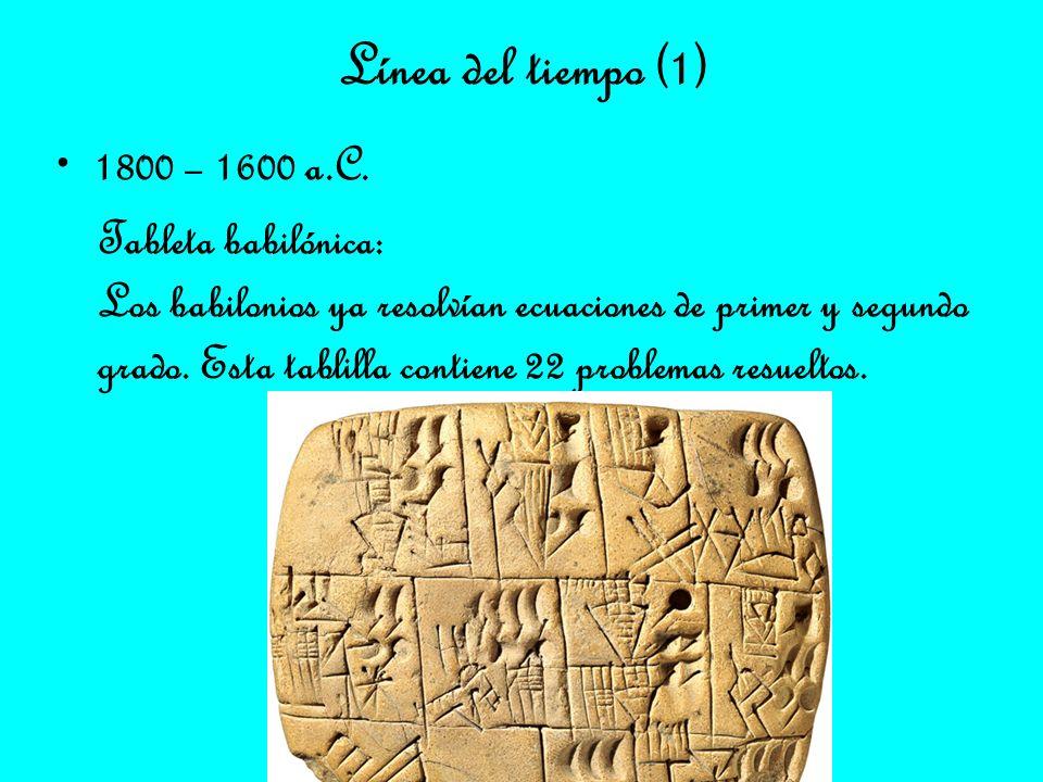 Línea del tiempo (1) 1800 – 1600 a.C. Tableta babilónica: