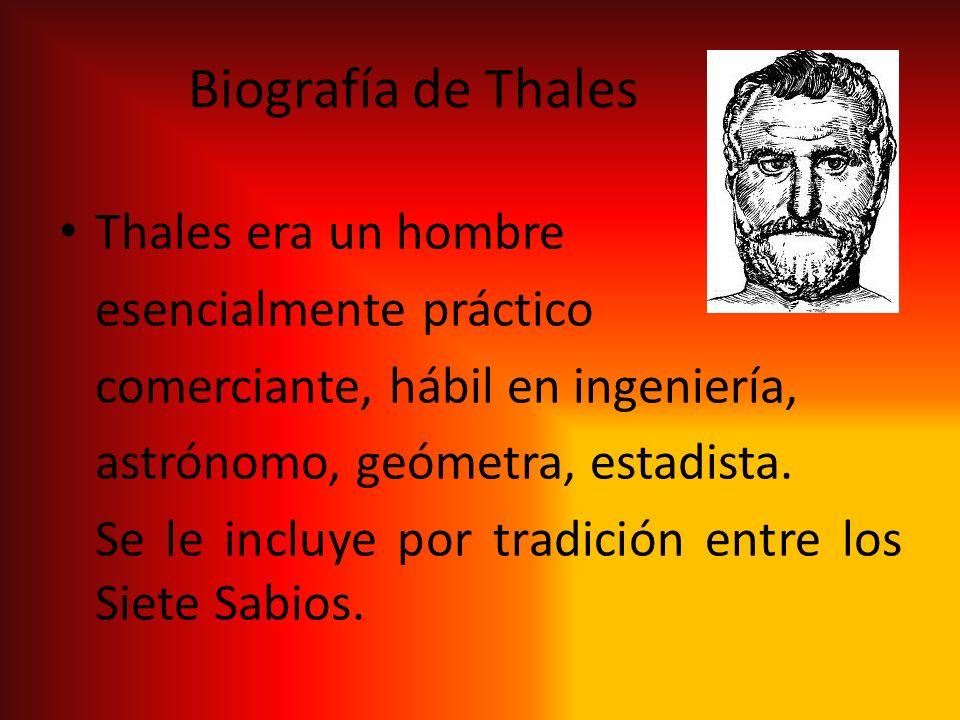 Biografía de Thales Thales era un hombre esencialmente práctico