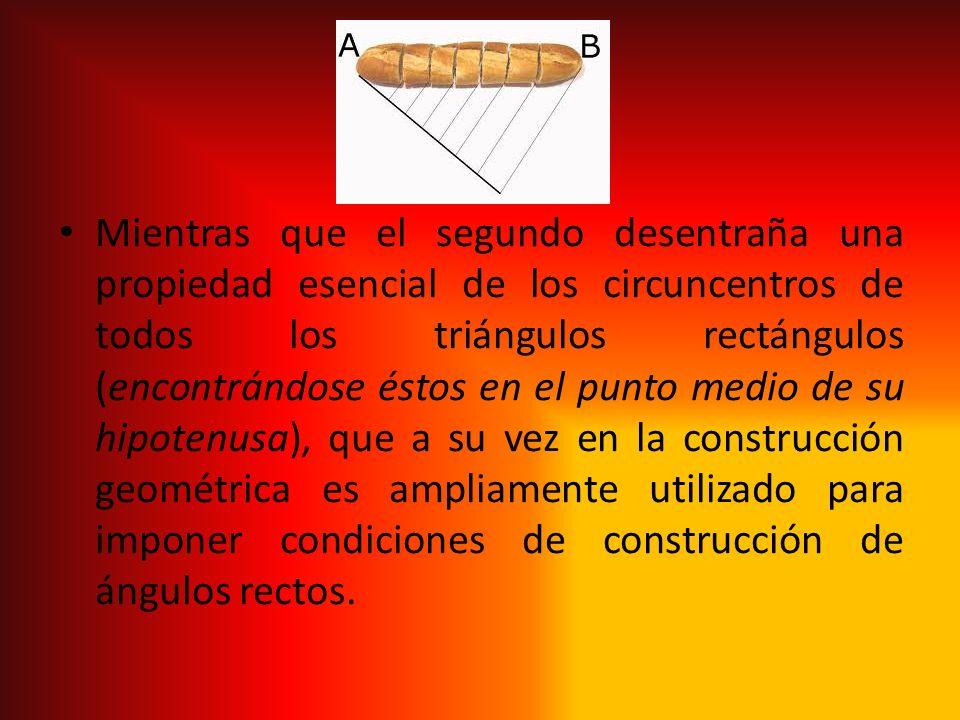 Mientras que el segundo desentraña una propiedad esencial de los circuncentros de todos los triángulos rectángulos (encontrándose éstos en el punto medio de su hipotenusa), que a su vez en la construcción geométrica es ampliamente utilizado para imponer condiciones de construcción de ángulos rectos.