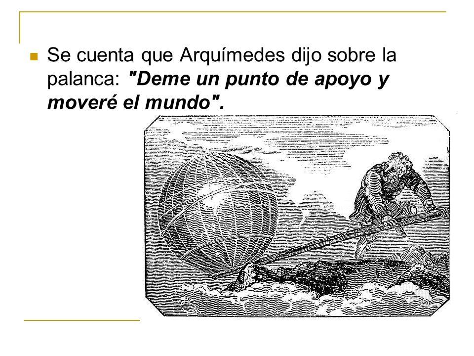 Se cuenta que Arquímedes dijo sobre la palanca: Deme un punto de apoyo y moveré el mundo .