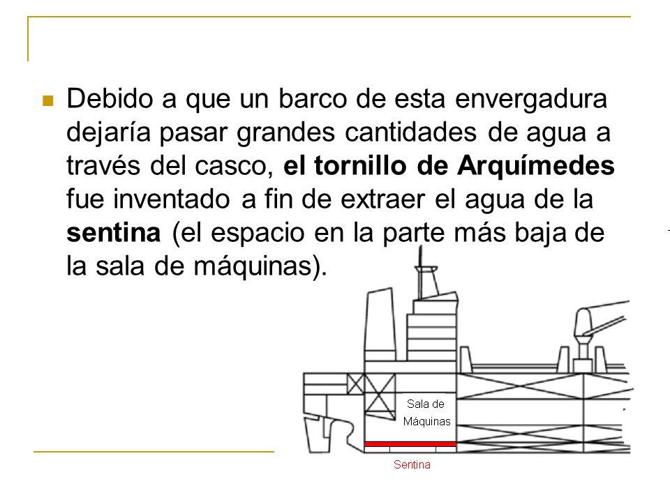 Debido a que un barco de esta envergadura dejaría pasar grandes cantidades de agua a través del casco, el tornillo de Arquímedes fue inventado a fin de extraer el agua de la sentina (el espacio en la parte más baja de la sala de máquinas).