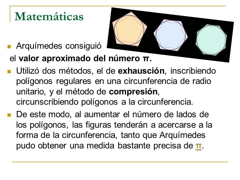 Matemáticas Arquímedes consiguió el valor aproximado del número π.