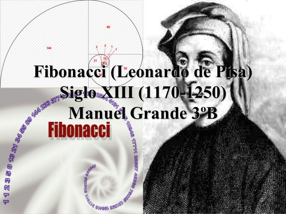 Fibonacci (Leonardo de Pisa) Siglo XIII (1170-1250) Manuel Grande 3ºB
